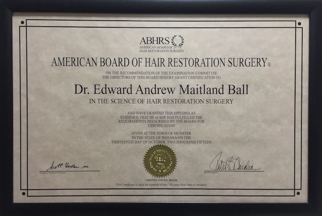 Dr Edward Ball becomes examiner for the American Board of Hair Restoration Surgery