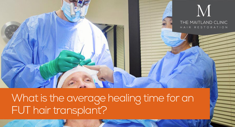 What is the average healing time for an FUT hair transplant