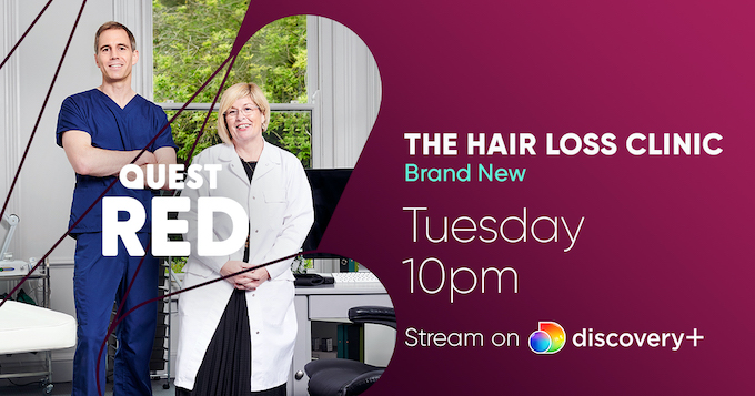 The Maitland Clinic features in a new TV show – The Hair Loss Clinic – On Quest Red and streaming on Discovery+